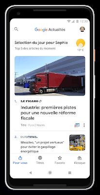 Le nouveau Google Actualités et l'interface newscasts