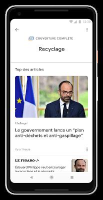 Nouveau Google Actualités avec la couverture complète d'un sujet d'actualité