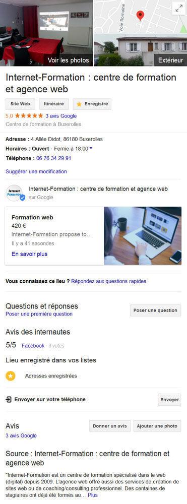 Affichage d'un post de produit de Google My Business dans le moteur de recherche