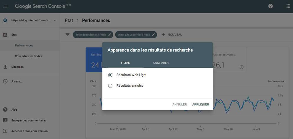 Nouveau filtre Web Light dans la Google Search Console