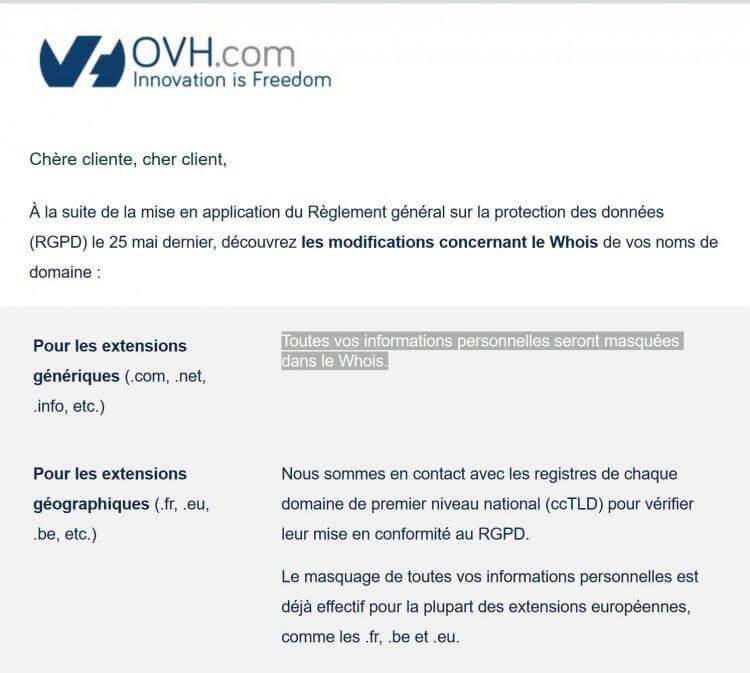 OVH rend tous les WHOIS anonymes pour ses noms de domaine