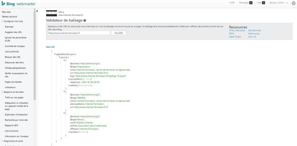 Validateur de balisage de Bing avec le format JSON-LD