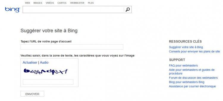 Bing supprime (aussi) la soumission manuelle d'URL