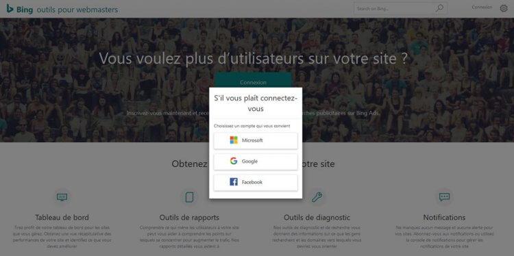Connexions sociales aux Bing Webmaster Tools
