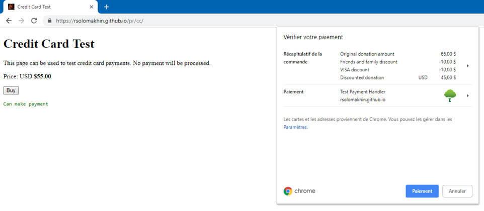 Exemple d'utilisation de l'API Payment Handler