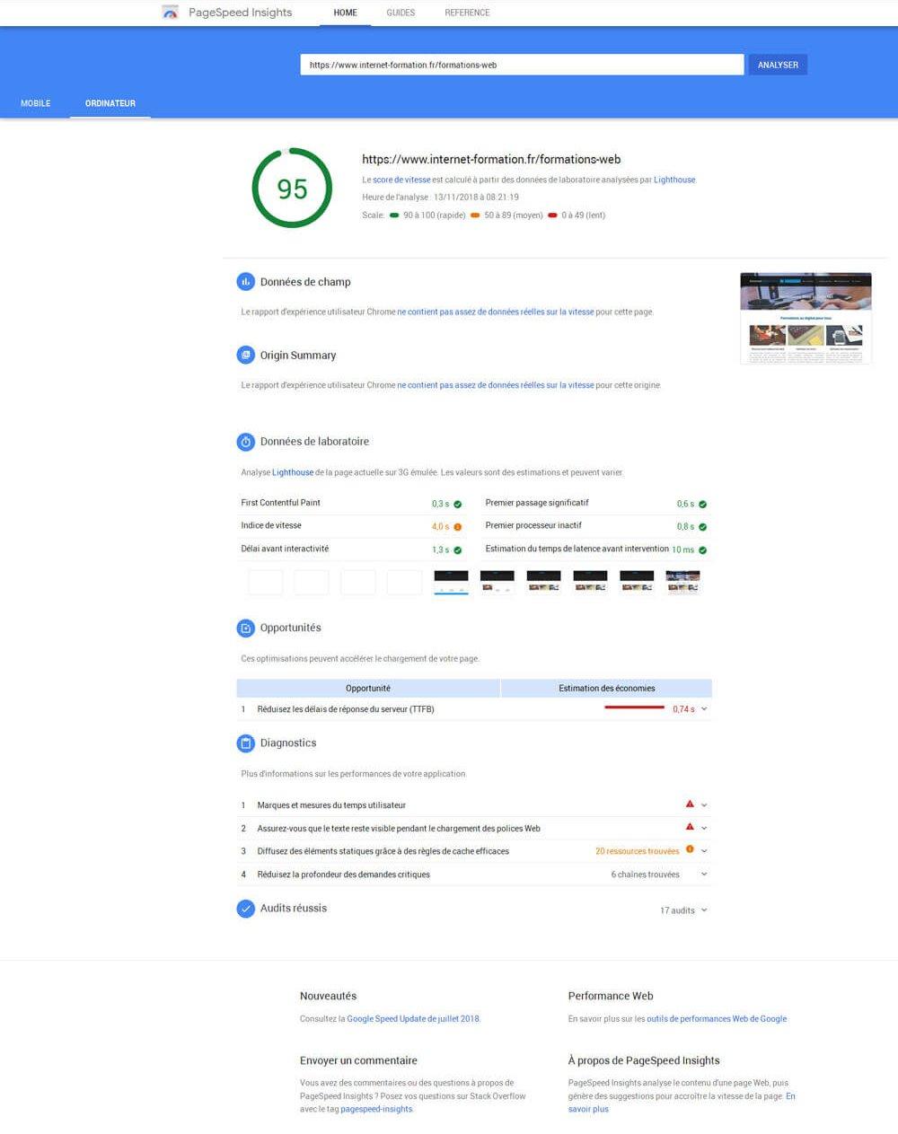Mise à jour du nouveau Google Pagespeed Insights avec les données de Lighthouse
