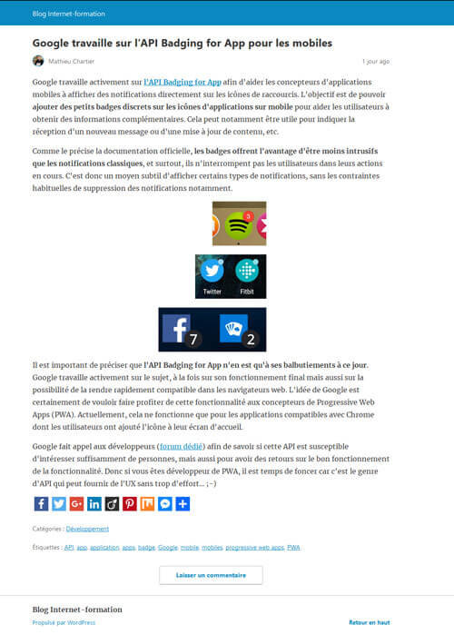 Exemple de thème par défaut du plugin AMP de WordPress et Google