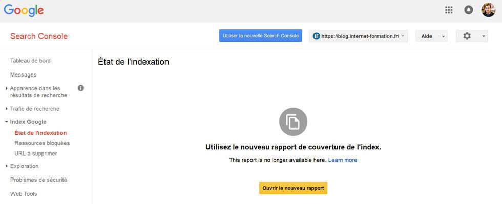 Transfert de rapports de l'ancienne Search Console vers la nouvelle Google Search Console