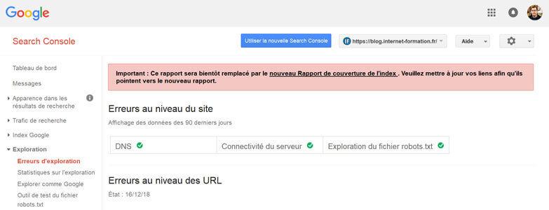 Message pour prévenir du transfert d'une fonctionnalité vers la nouvelle Google Search Console