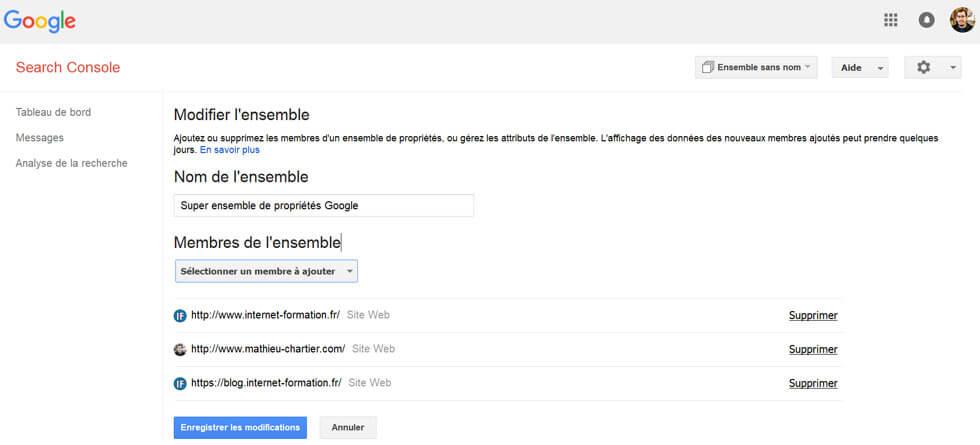Ensemble de propriétés dans l'ancienne Google Search Console