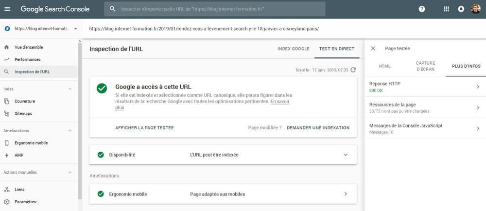 Nouvelles données dans l'inspection d'URL de la Google Search Console