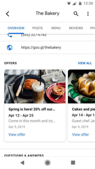 Mise en avant des offres dans Google My Business